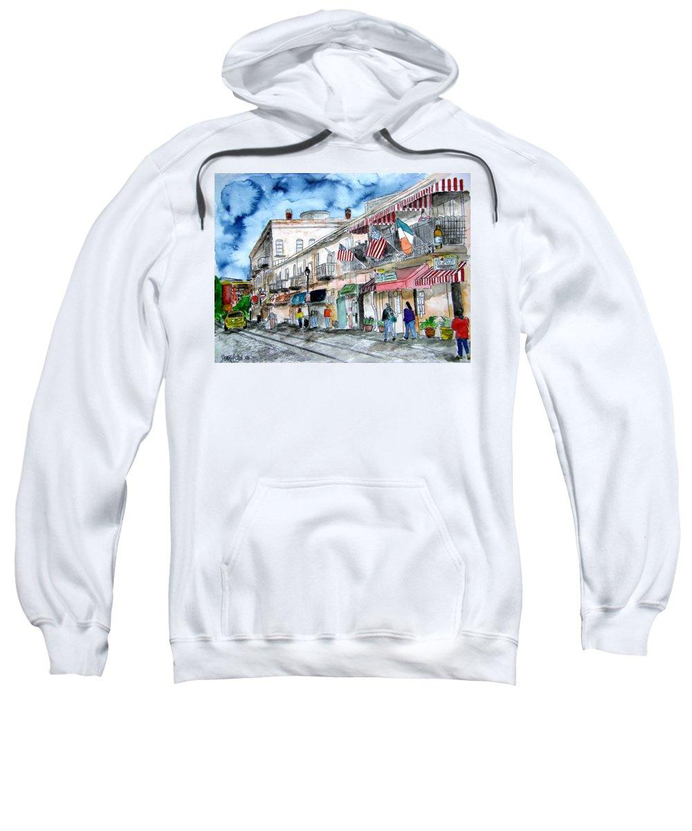 Savannah Sweatshirt featuring the painting River Street Savannah Georgia by Derek Mccrea