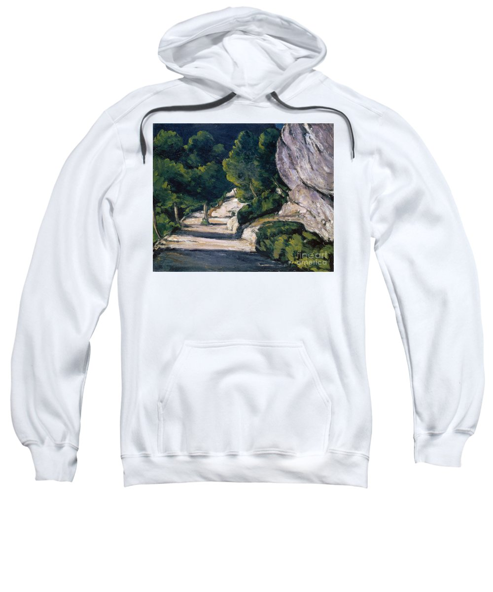 Cezanne Sweatshirt featuring the painting Road With Trees In Rocky Mountains by Cezanne