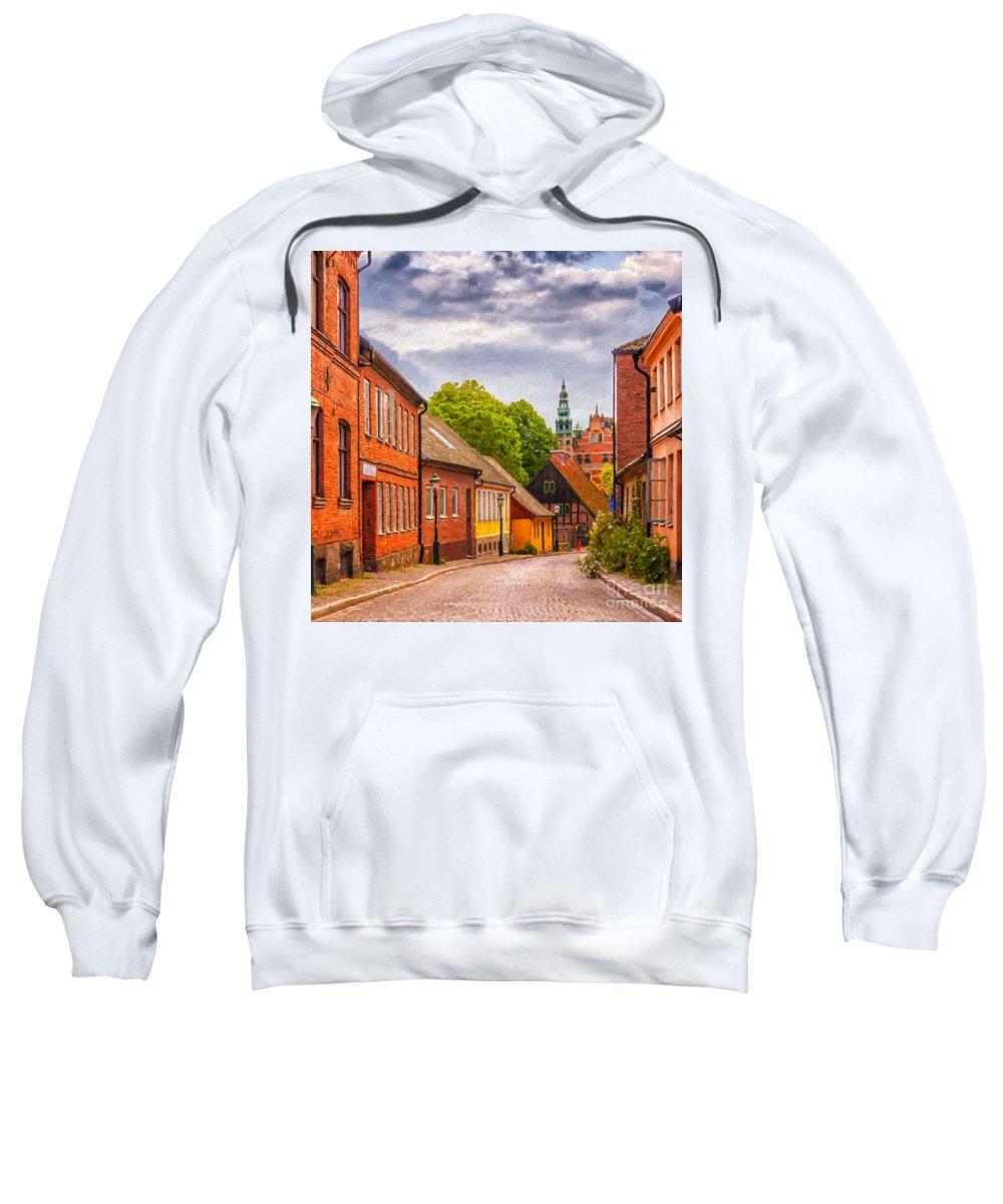 Digital Sweatshirt featuring the painting Roads Of Lund Digital Painting by Antony McAulay