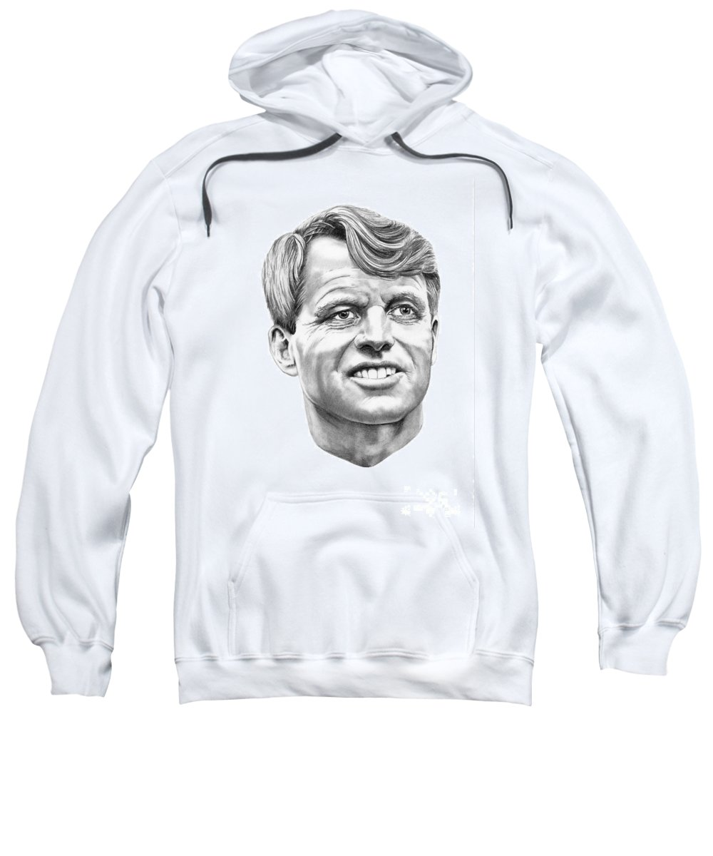 Robert Kennedy Sweatshirt featuring the drawing Robert Kennedy by Murphy Elliott