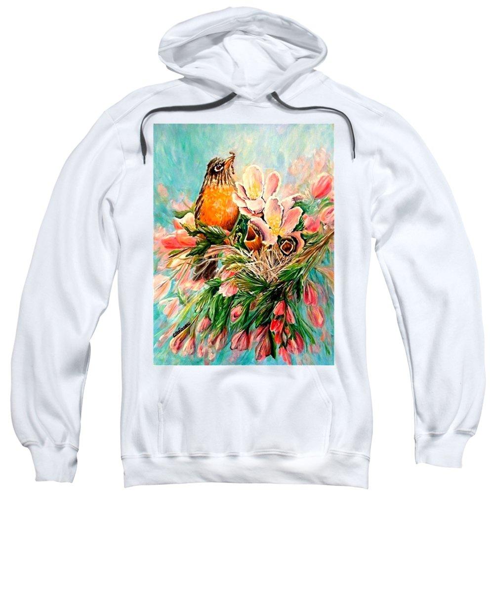 Robins Sweatshirt featuring the painting Robin Hood by Carol Allen Anfinsen