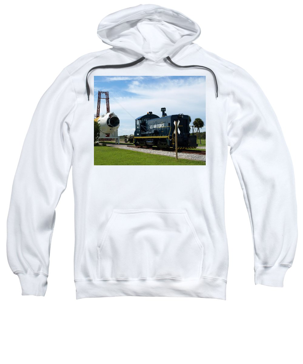 Airforce; Air Force; Air; Force; U.s.; Locomotive; Engine; Rail; Road; Railroad; Railway; Train; Gro Sweatshirt featuring the photograph Rocket Locomotive At Cape Canaveral In Florida by Allan Hughes