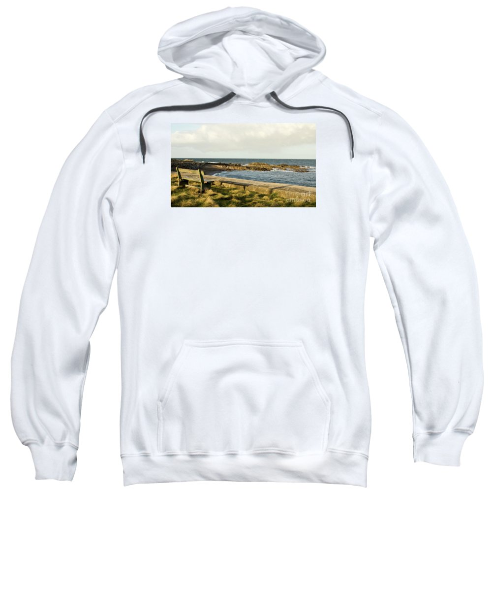 Ianstown Sweatshirt featuring the photograph Rocky Coast Bench by Jim Macdonald