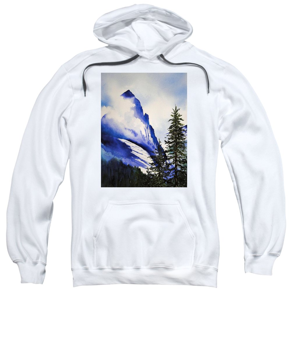 Rocky Mountains Sweatshirt featuring the painting Rocky Mountain High by Karen Stark