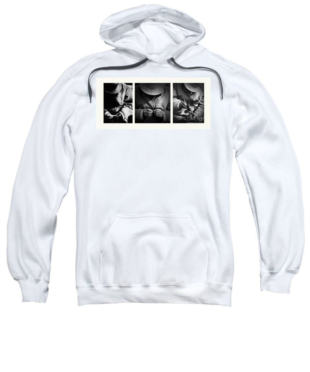 Rollup Rolling Cigarette Smoker Smoking Man Hat Monochrome Sweatshirt featuring the photograph Rolling His Own by Sheila Smart Fine Art Photography
