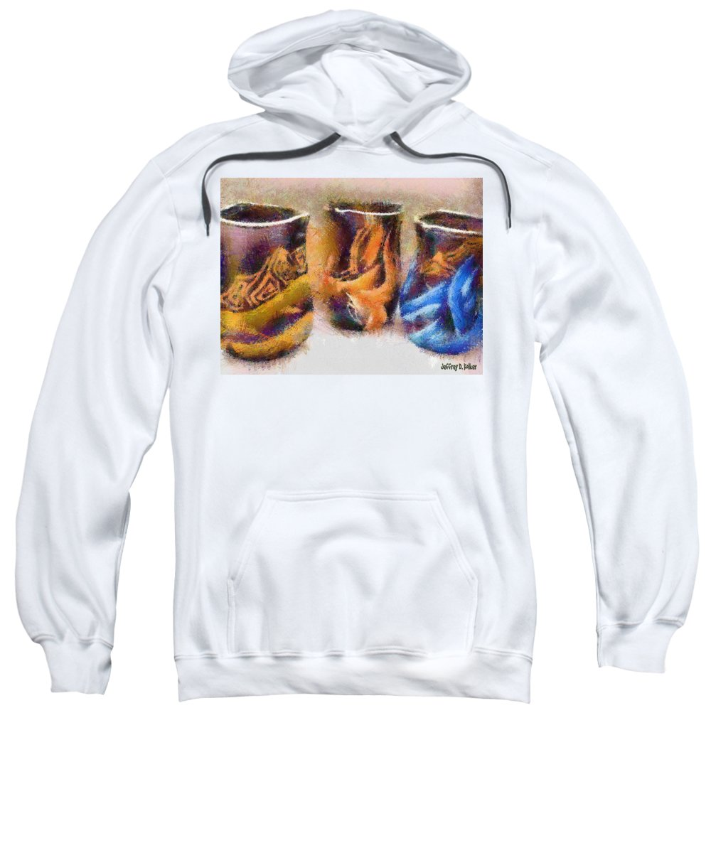 Romania Sweatshirt featuring the painting Romanian Vases by Jeffrey Kolker