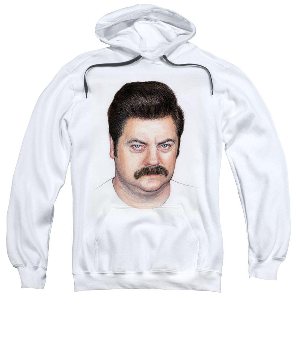 Ron Swanson Sweatshirt featuring the painting Ron Swanson Portrait Nick Offerman by Olga Shvartsur
