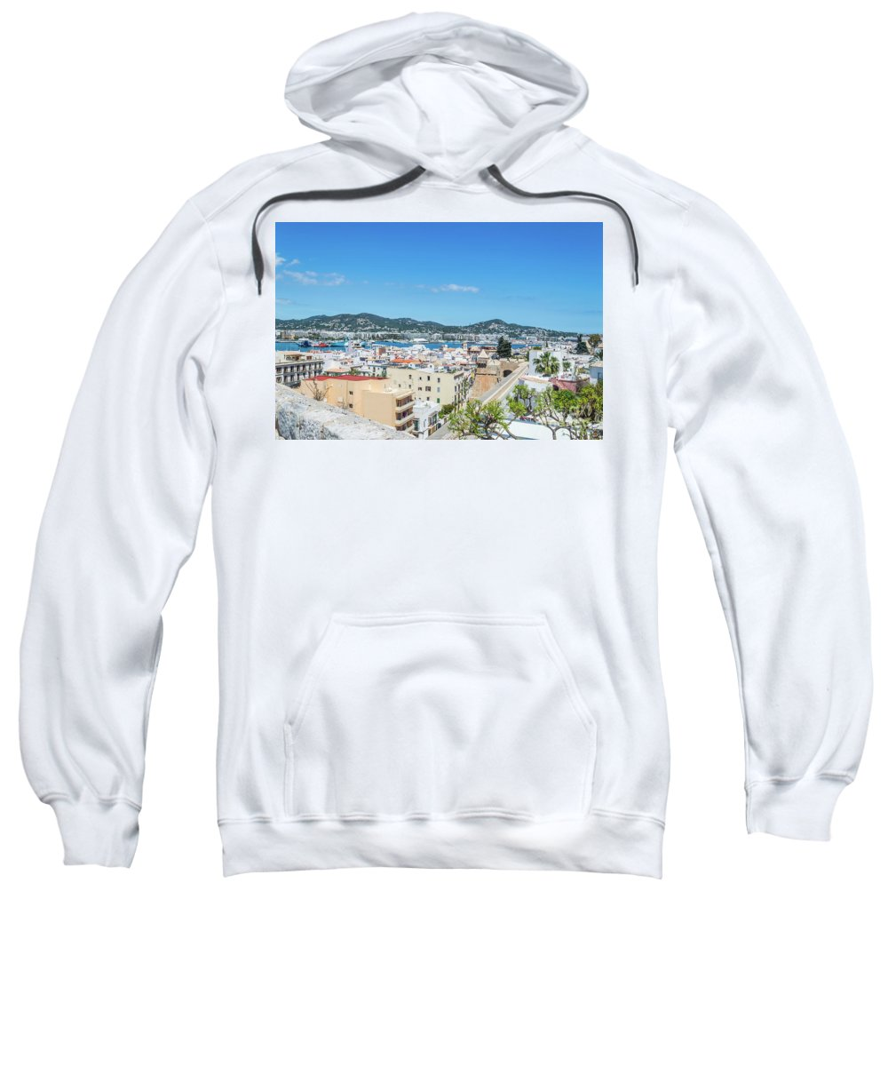 Ibiza Sweatshirt featuring the photograph Rooftops Of Ibiza 4 by Steve Purnell