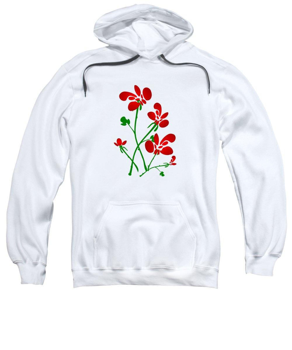 Red Sweatshirt featuring the digital art Rooster Flowers by Anastasiya Malakhova