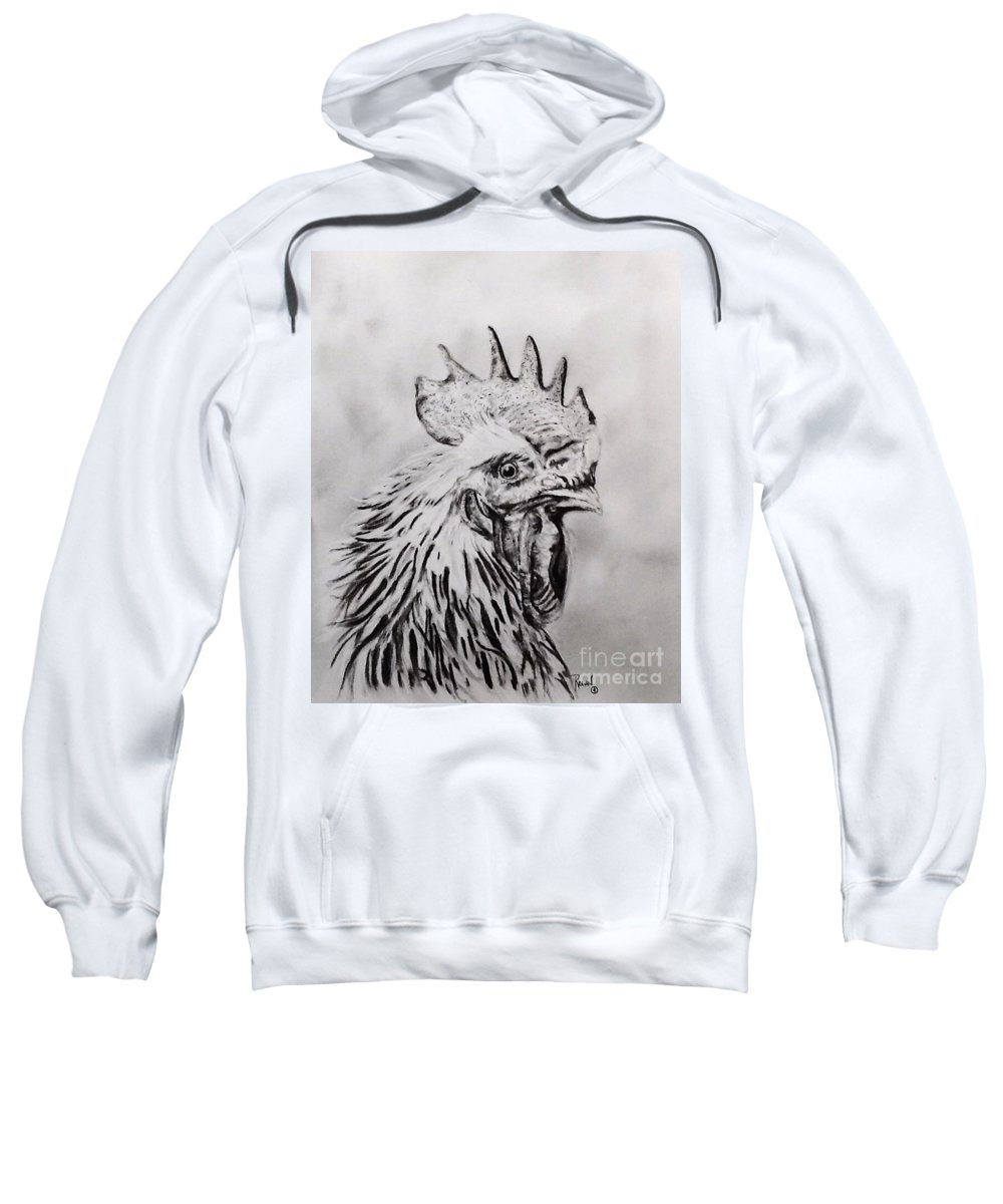 Rooster Sweatshirt featuring the drawing Rooster by Regan J Smith