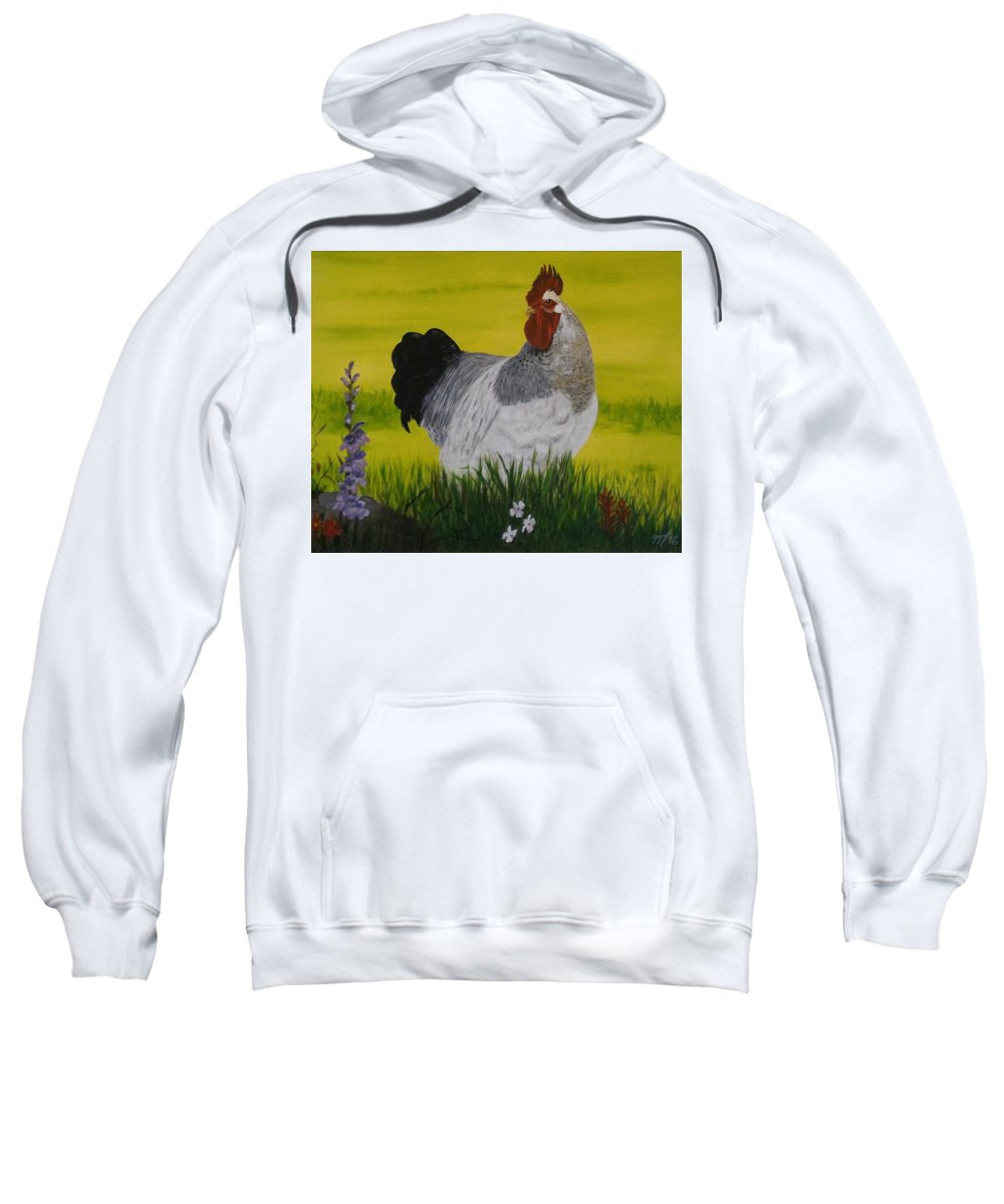 Animals Sweatshirt featuring the painting Roosty And Wild Flowers by Martha Sanchez-Hayre