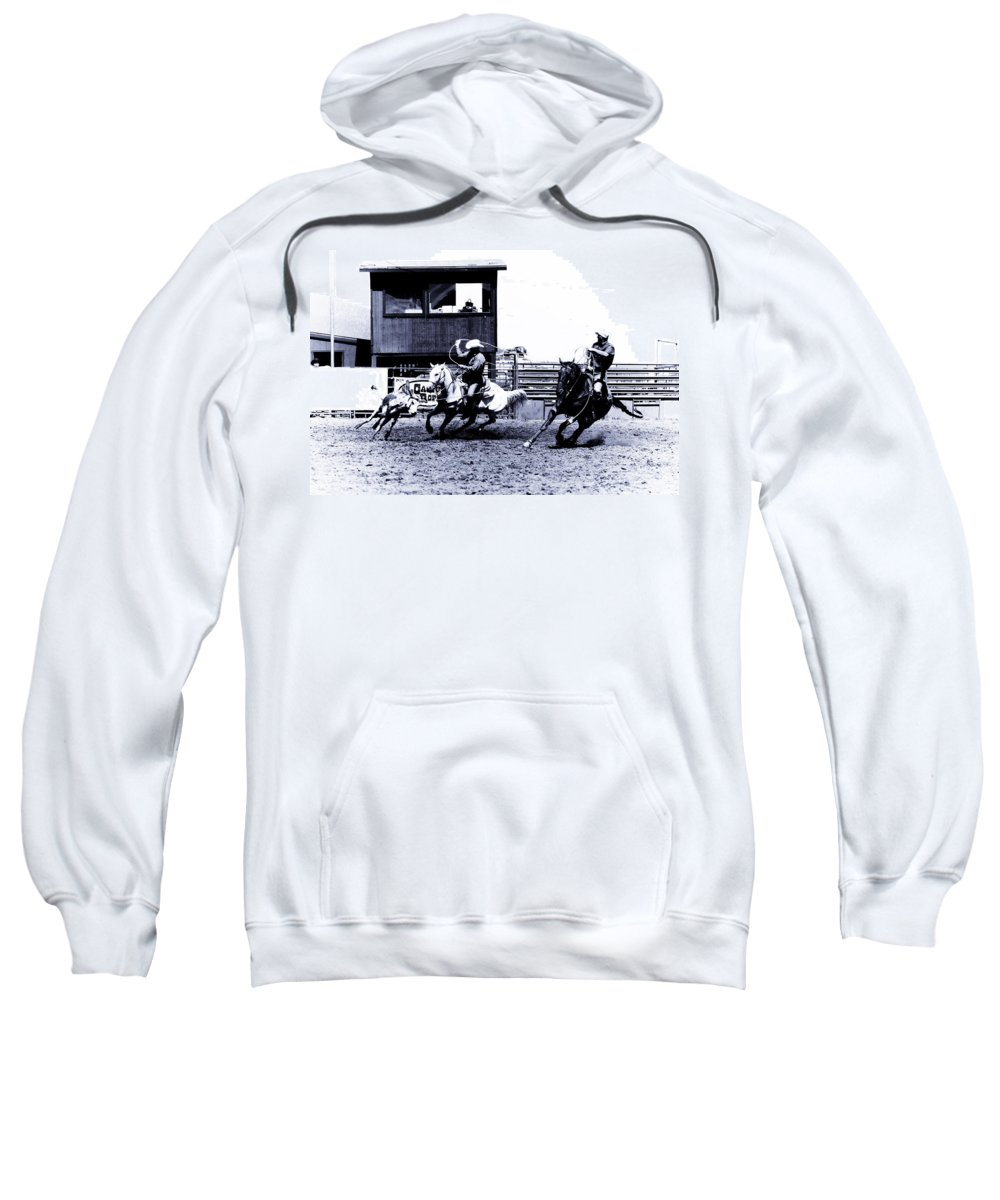 Rodeo Sweatshirt featuring the photograph Roping 1 by Scott Sawyer
