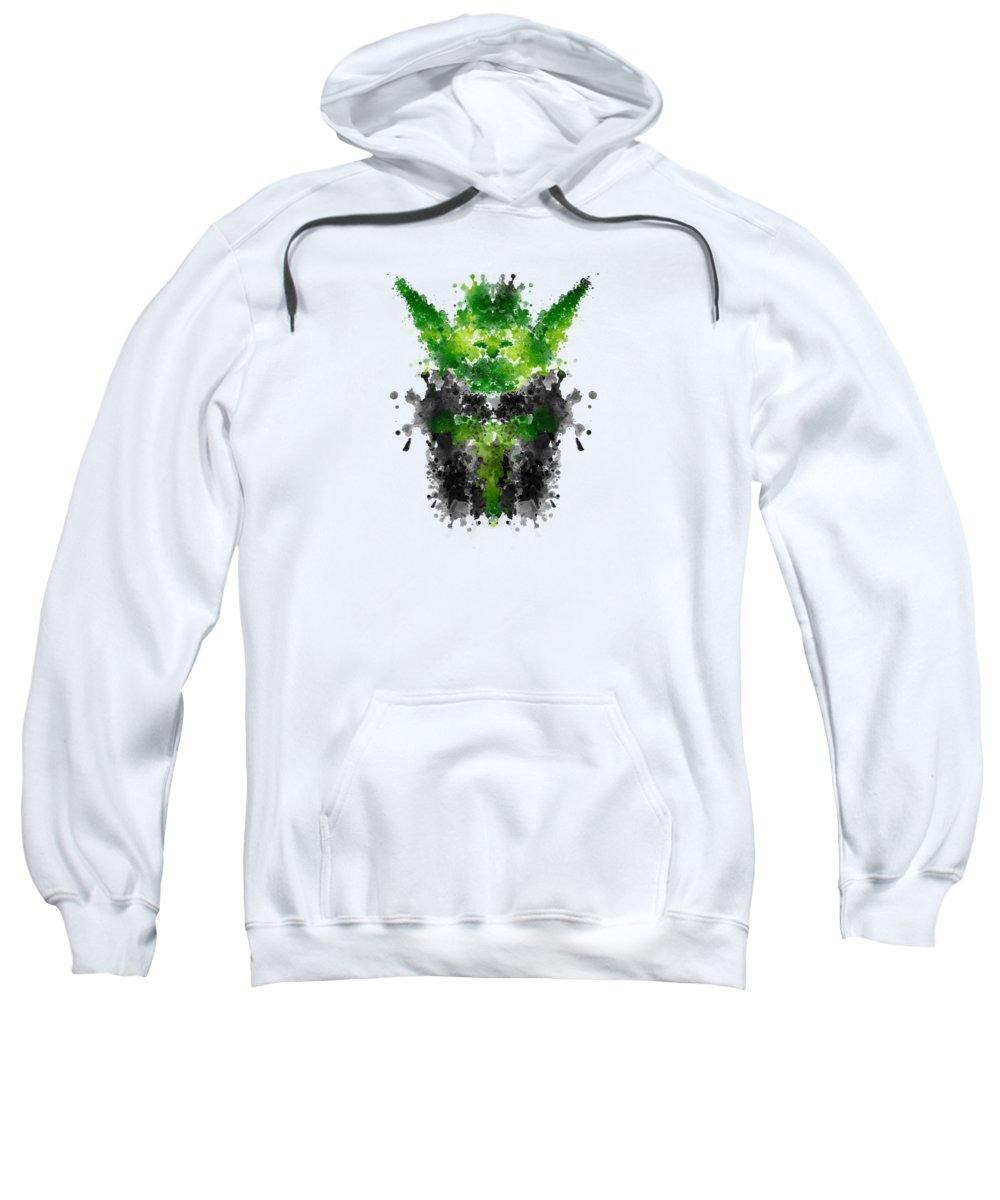 Starwars Sweatshirt featuring the digital art Rorschach Yoda by Philipp Rietz