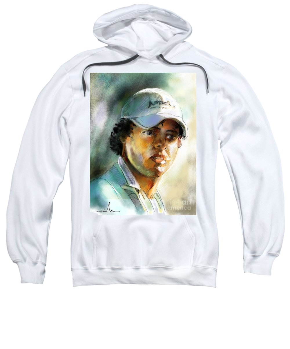 Portrait Painting Golfer Golfart Rory Mcilroy Pga Tour Sweatshirt featuring the painting Rory Mcilroy by Miki De Goodaboom