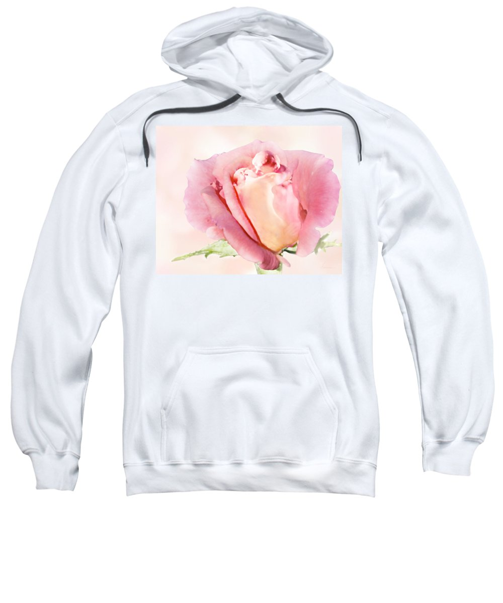 Blossom Sweatshirt featuring the digital art Rose Kiss by Francesa Miller