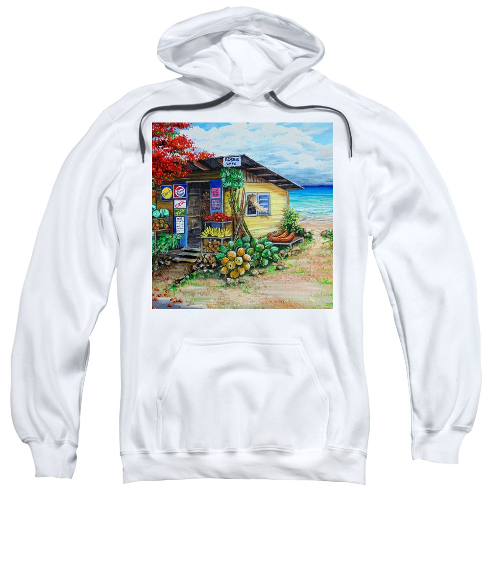 Beach Cafe Sweatshirt featuring the painting Rosies Beach Cafe by Karin Dawn Kelshall- Best