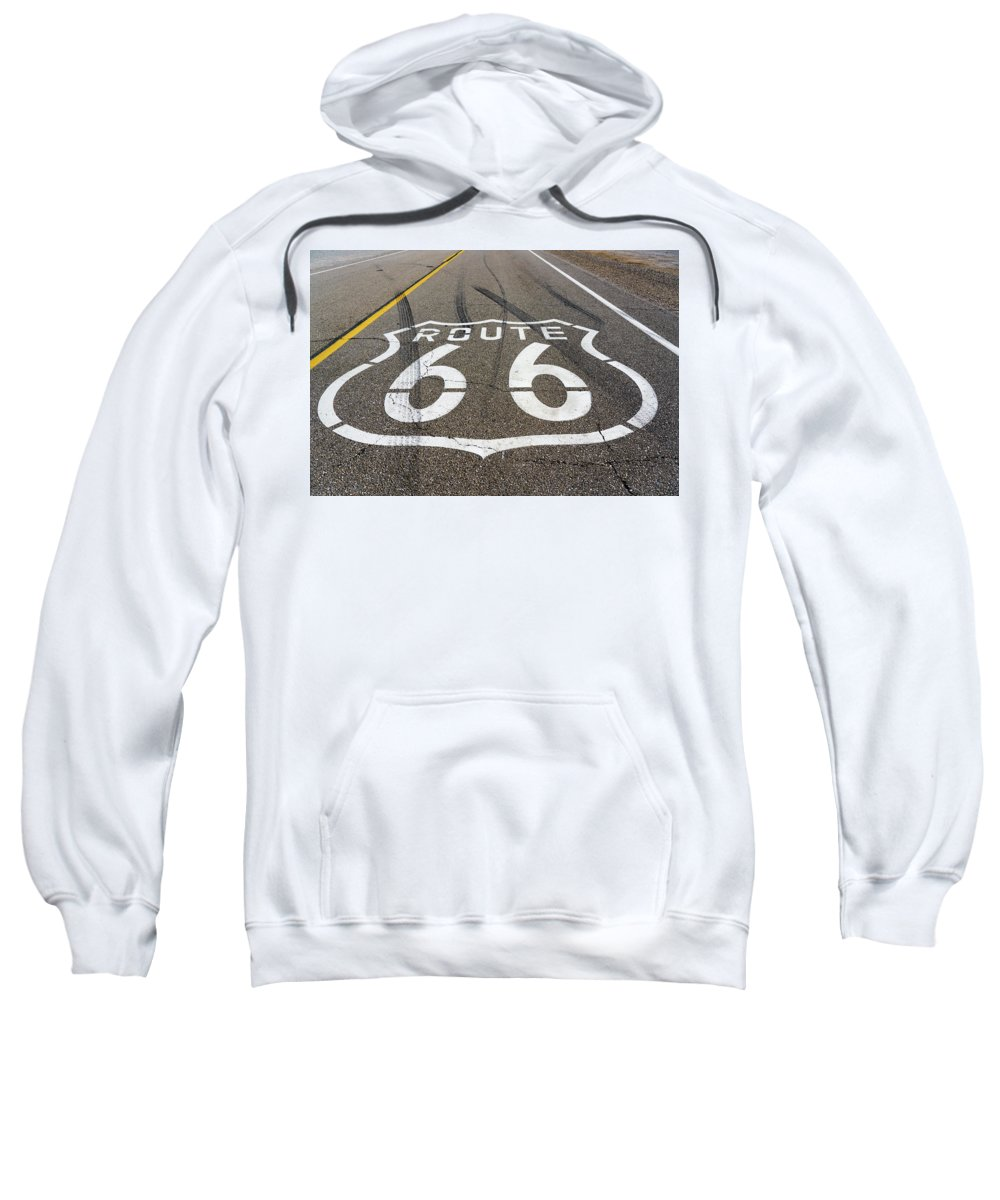 Route Sweatshirt featuring the digital art Route 66 Highway Sign by Stevie Benintende