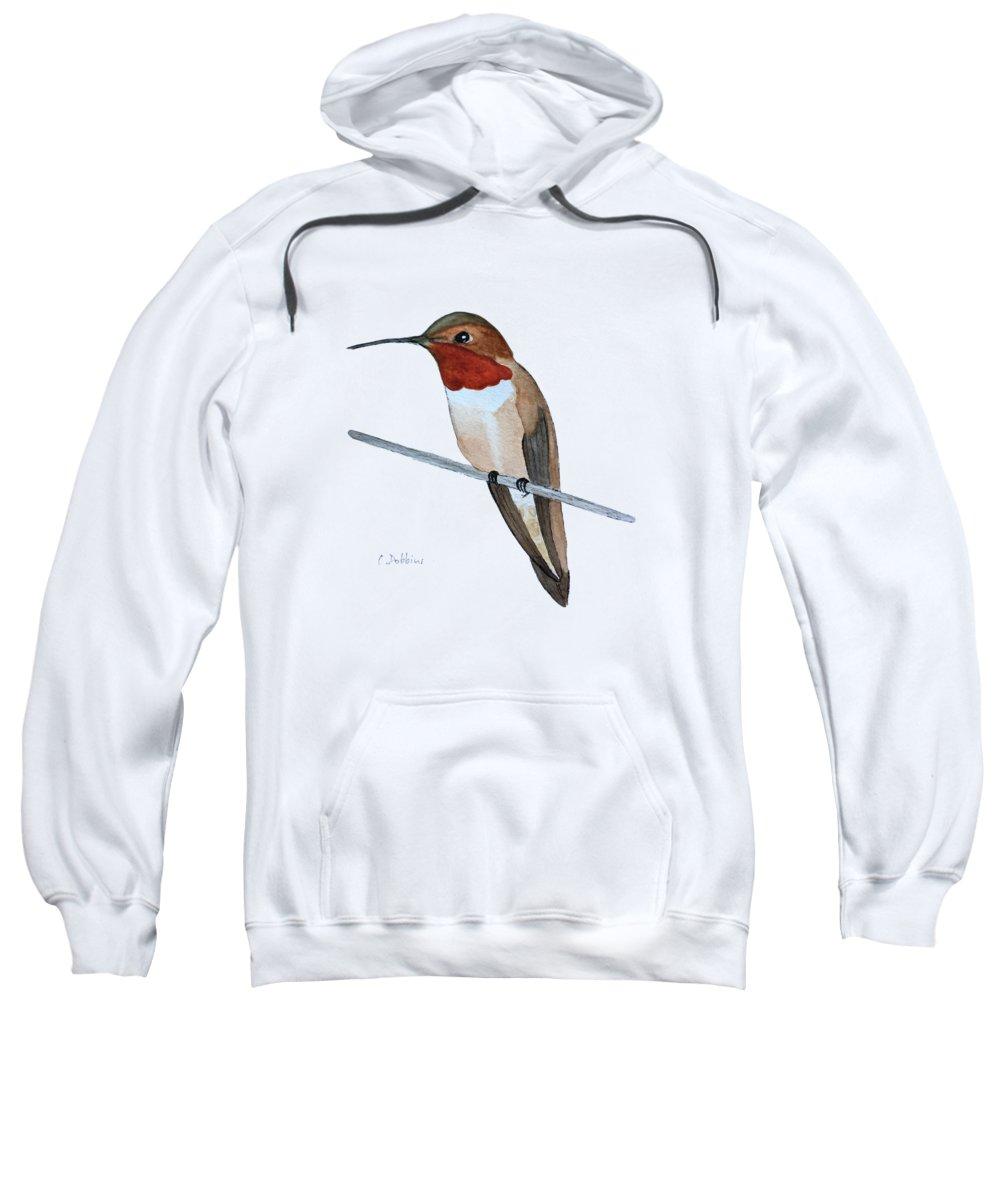 Hummingbird Sweatshirt featuring the painting Rufous Hummingbird by Christiane Dobbins
