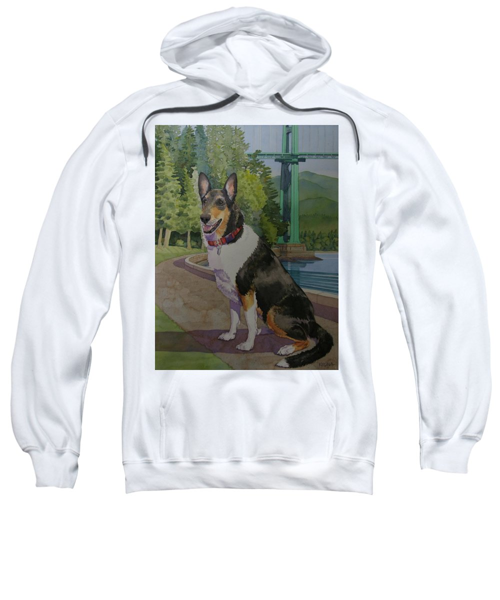 Custom Pet Portrait Smooth Collie Memorial Painting Sweatshirt featuring the painting Rufus In Stanley Park by Mike Krona