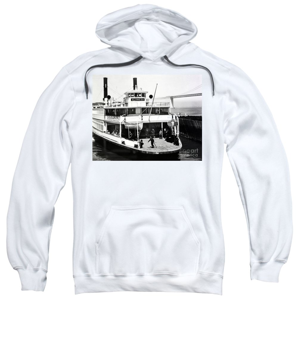 S. P. Sweatshirt featuring the photograph S. P. Ferry Alameda At San Francisco Circa 1940 by California Views Archives Mr Pat Hathaway Archives