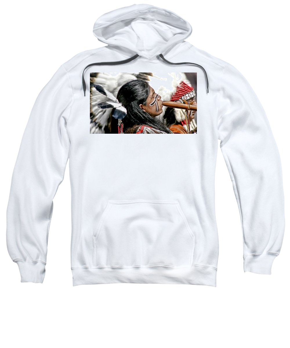 American Indian Sweatshirt featuring the photograph Sacred Flute by Donovan Torres