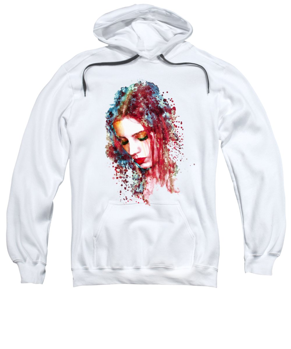 Sad Sweatshirt featuring the painting Sad Woman by Marian Voicu