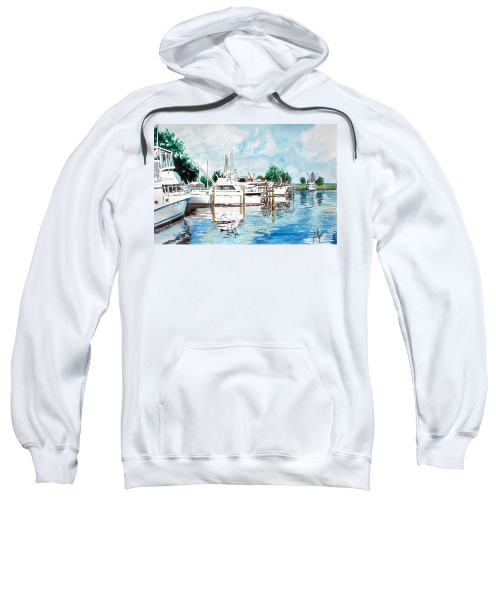 Boats Harbor Coastal Nautical Sweatshirt featuring the painting Safe Harbor by Jim Phillips