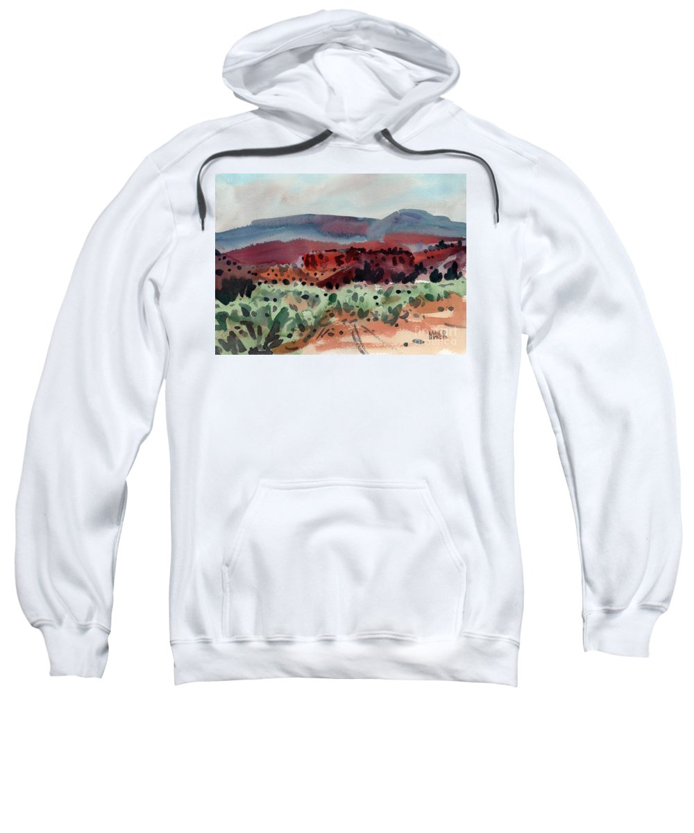 Southwestern Landscape Sweatshirt featuring the painting Sage Sand And Sierra by Donald Maier