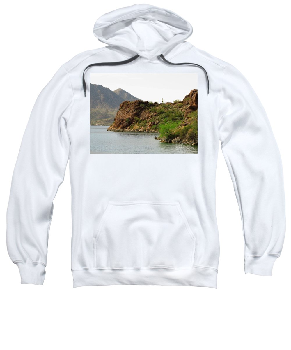 Saguaro Lake Sweatshirt featuring the photograph Saguaro Lake Shore by Marilyn Smith