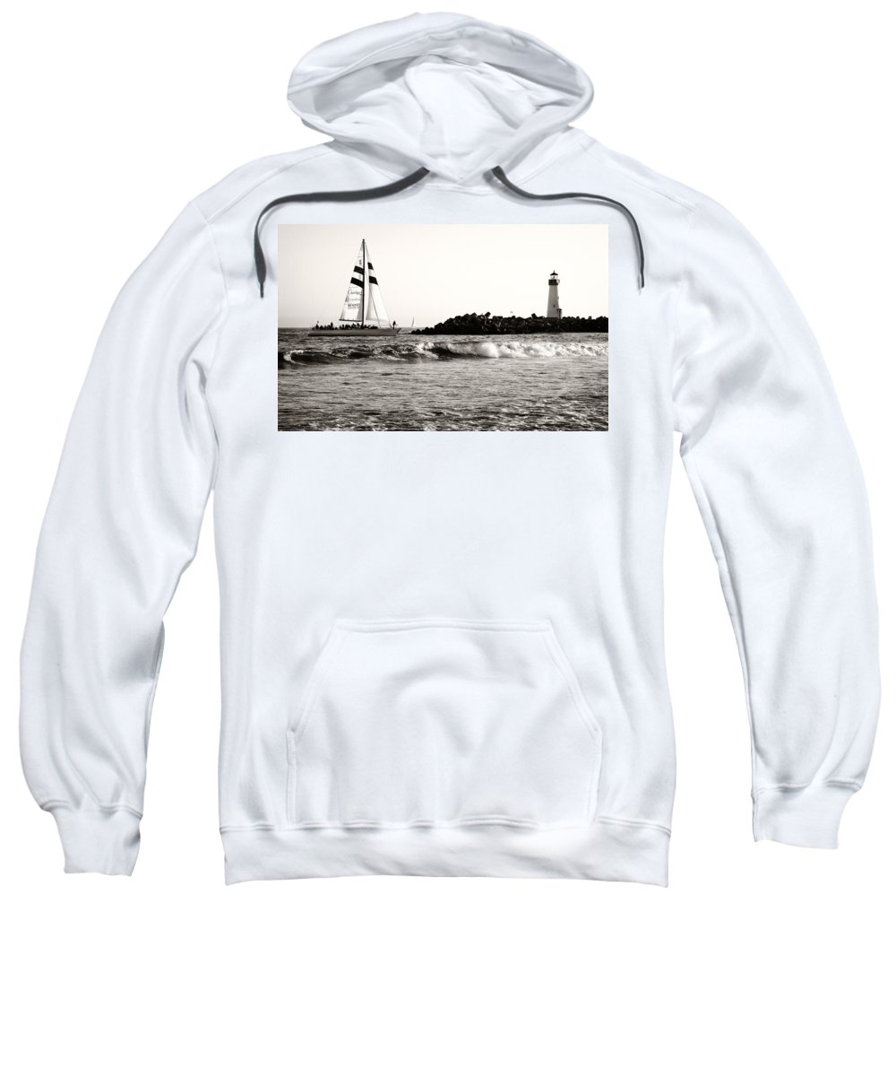 Santa Cruz Sweatshirt featuring the photograph Sailboat And Lighthouse 2 by Marilyn Hunt