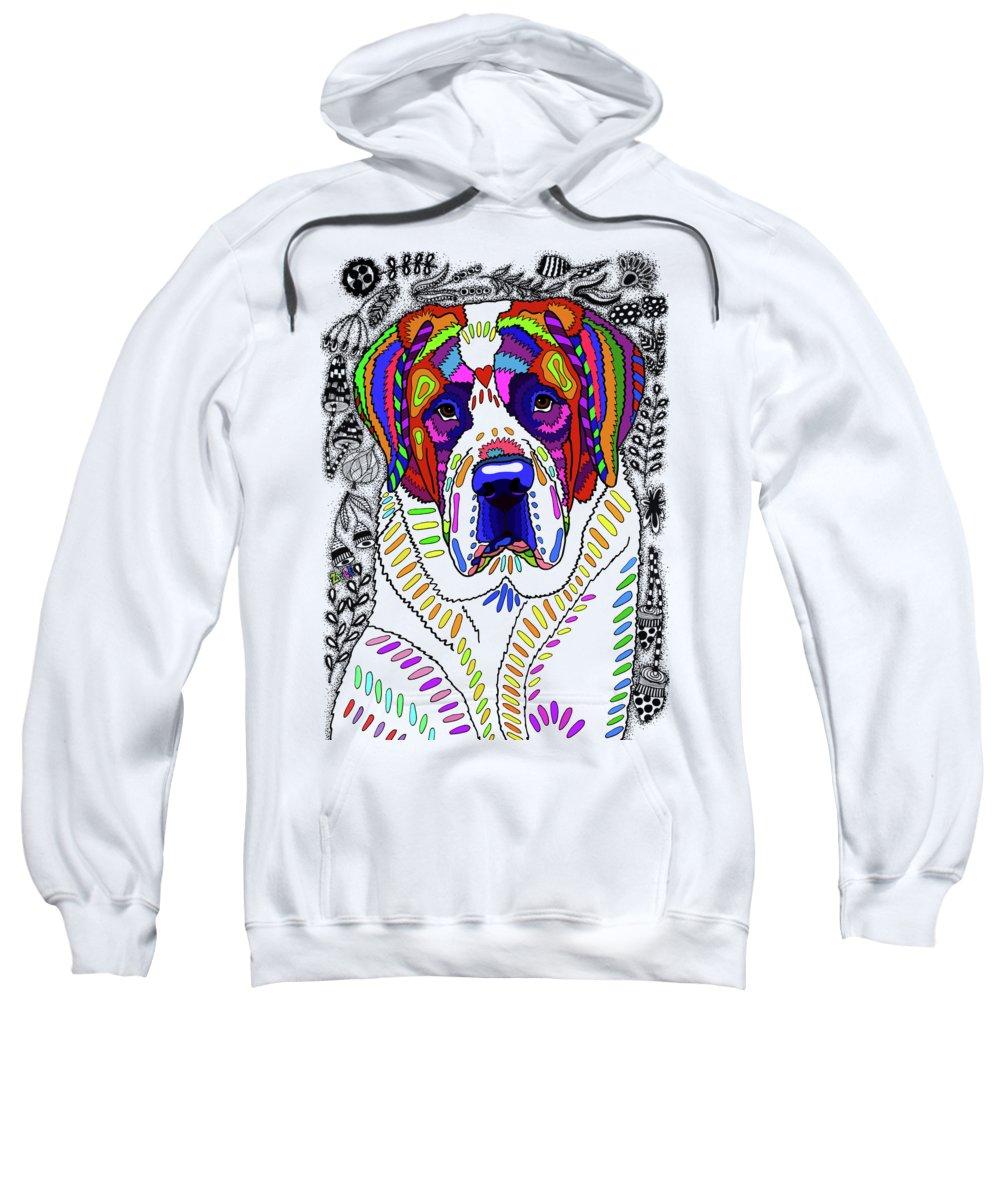 Animal Sweatshirt featuring the drawing Saint Bernard by ZileArt