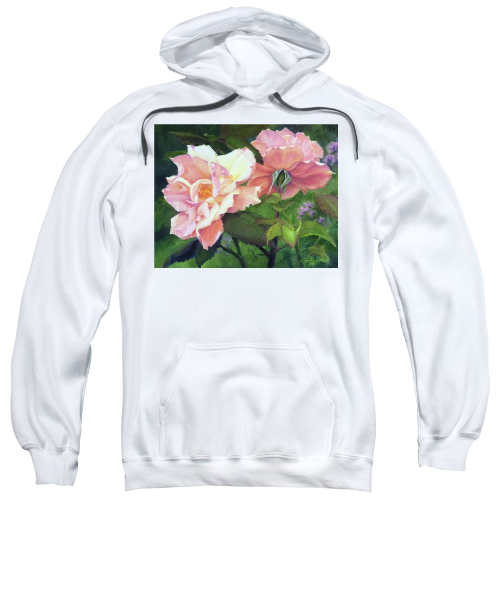 Rose Sweatshirt featuring the painting Salmon Roses by Teri Rosario