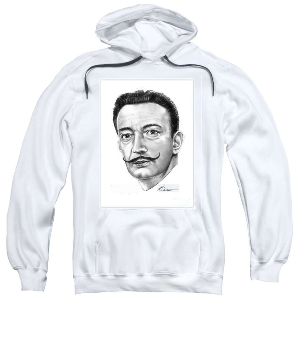 Drawing Sweatshirt featuring the drawing Salvador Dali by Murphy Elliott