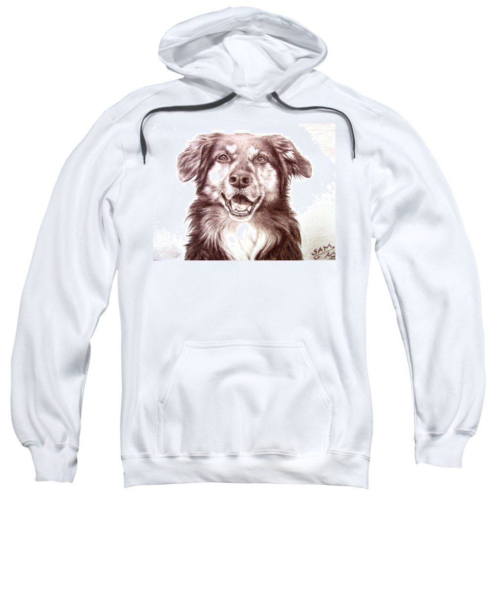 Dog Sweatshirt featuring the drawing Sam by Nicole Zeug