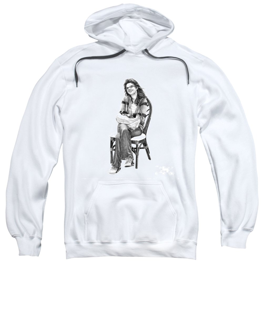 Figure Drawing Sweatshirt featuring the drawing Samantha Jonice Elliott by Murphy Elliott