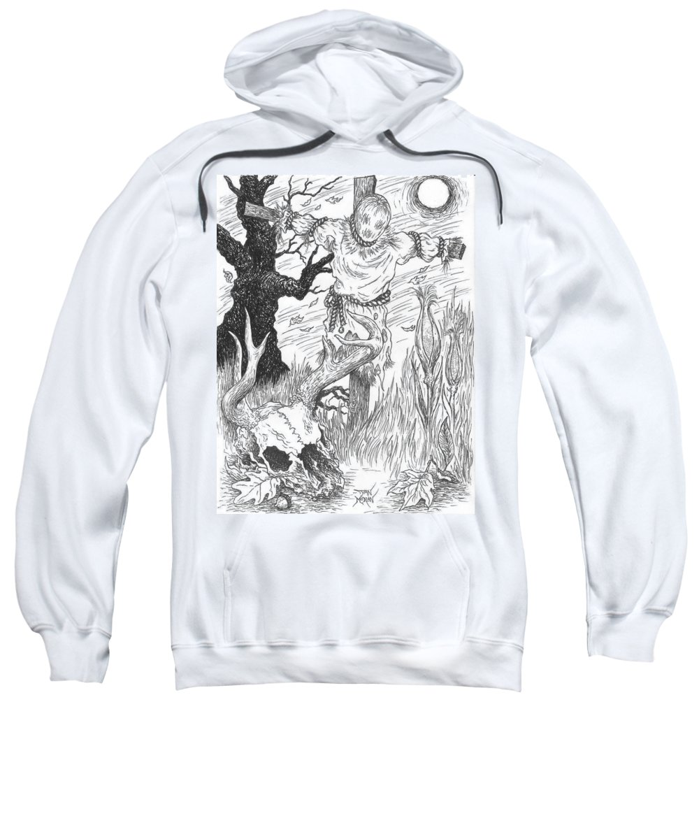 Pen Sweatshirt featuring the drawing Samhain by Dan Moran