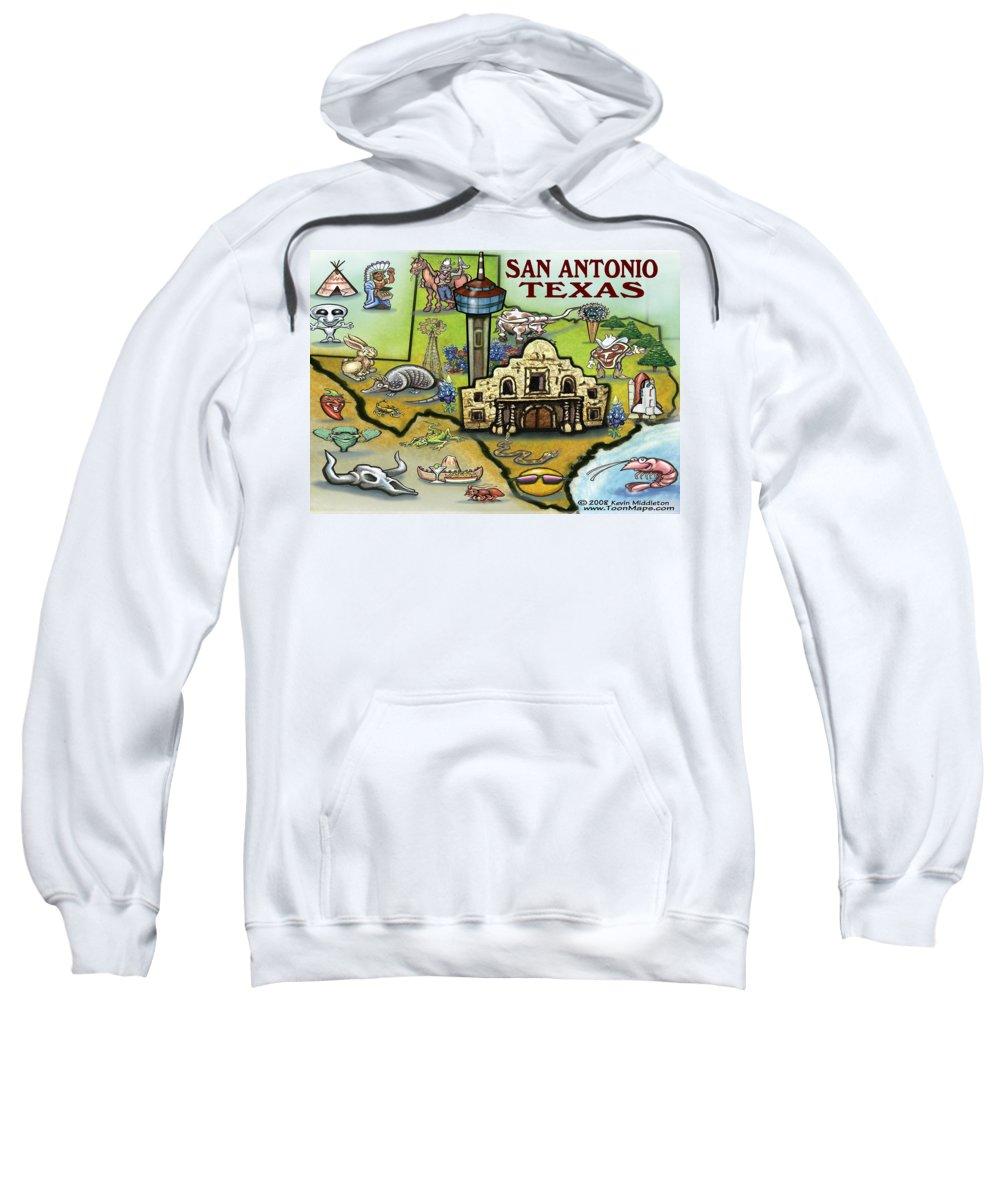 San Antonio Sweatshirt featuring the digital art San Antonio Texas by Kevin Middleton