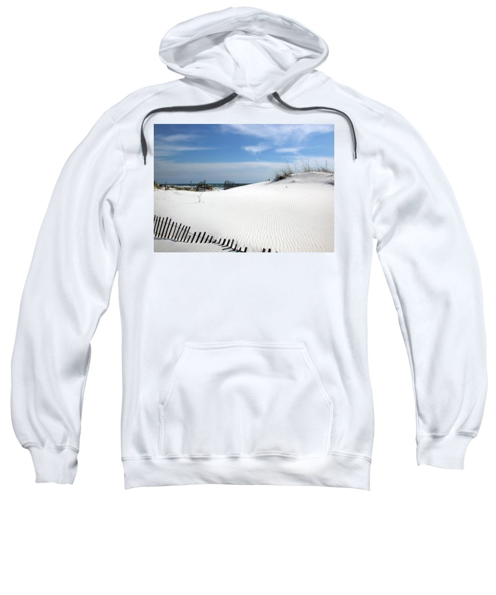 White Sweatshirt featuring the photograph Sand Dunes Dream by Marie Hicks