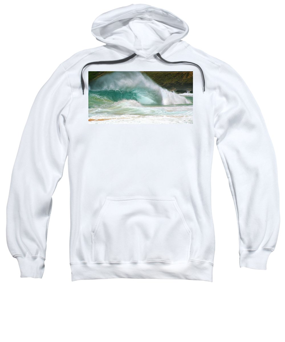 Beach Break Sweatshirt featuring the photograph Sandy Beach Shorebreak by Kevin Smith