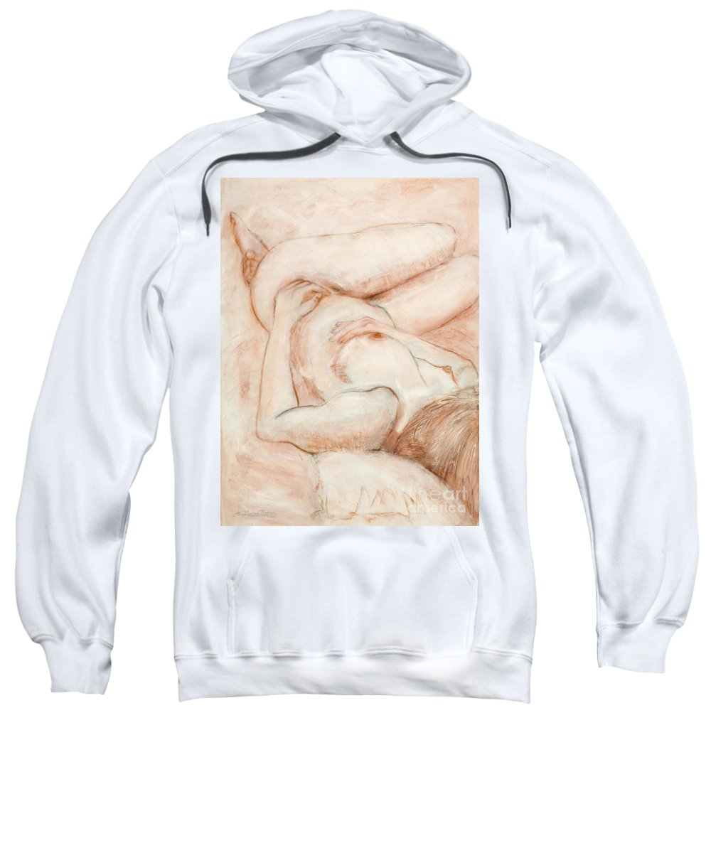 Female Sweatshirt featuring the drawing Sanguine Nude by Kerryn Madsen-Pietsch