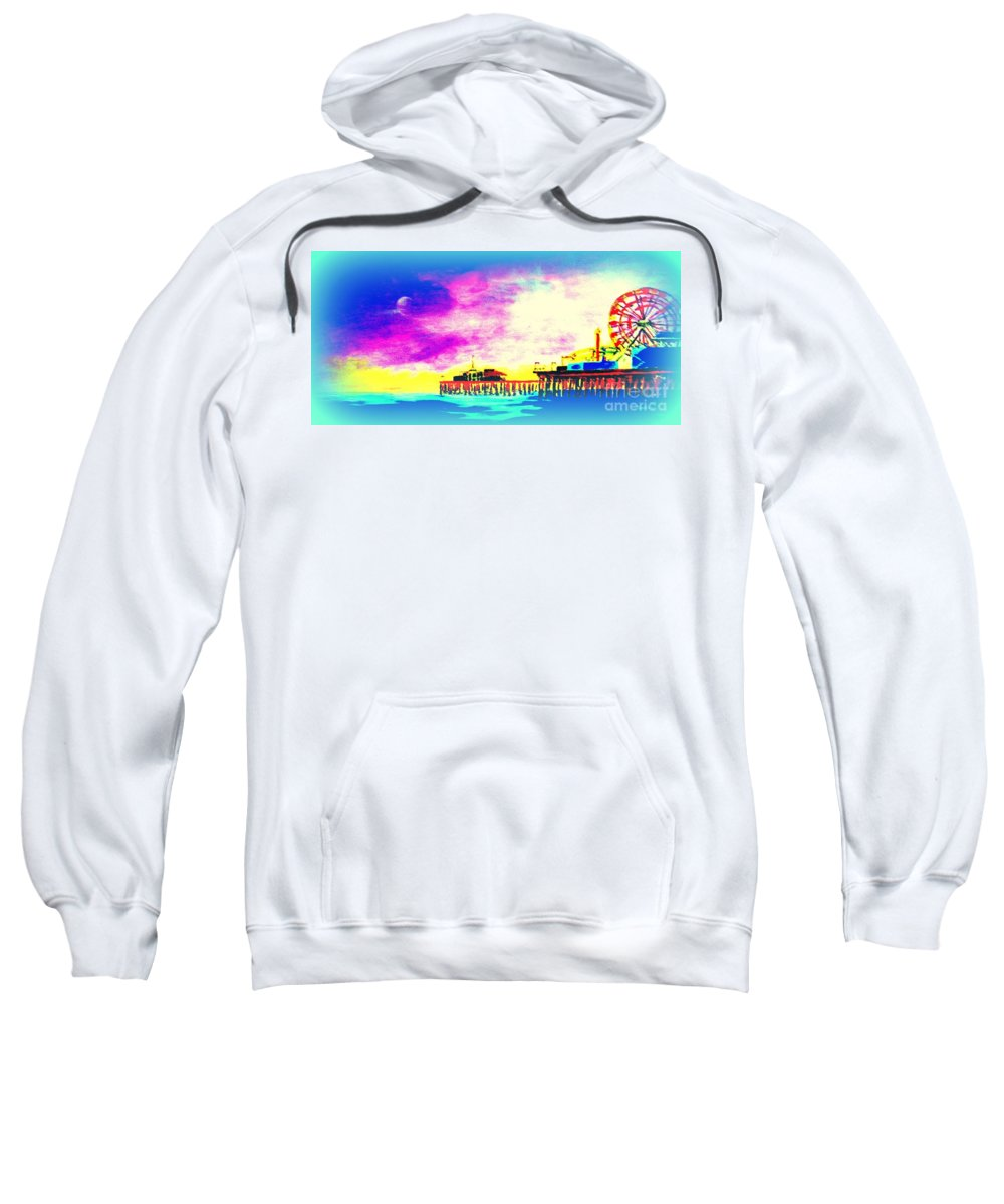Santa Monica Sweatshirt featuring the painting Santa Monica Pier In Blue by Irving Starr