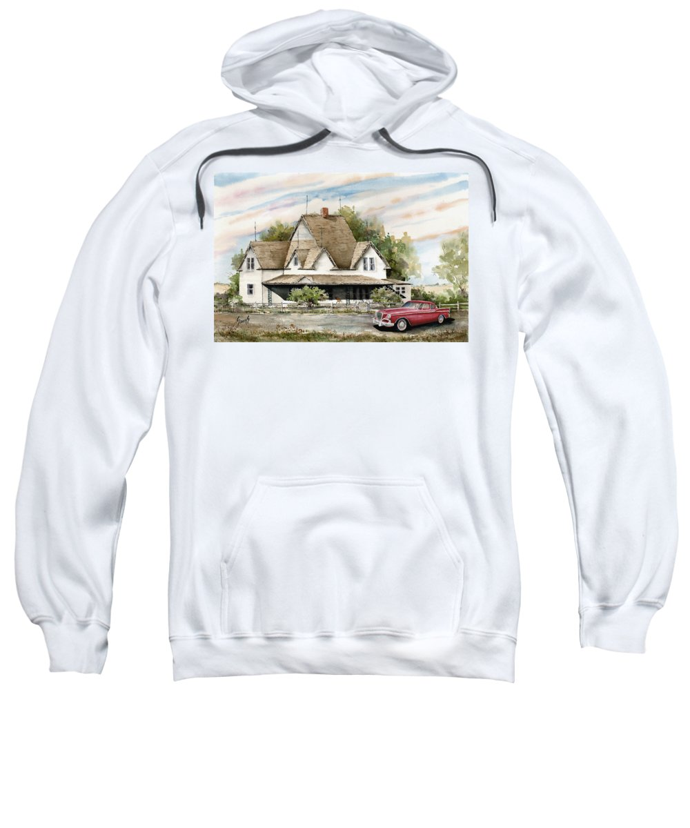 Hawk Studebaker Saturday Sweatshirt featuring the painting Saturday Evening 1964 by Sam Sidders