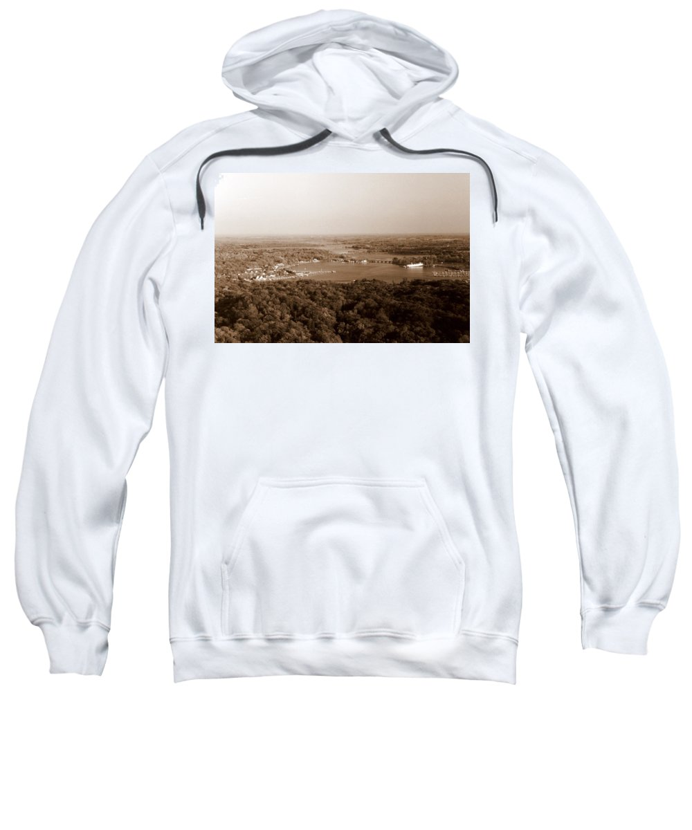 Saugatuck Sweatshirt featuring the photograph Saugatuck Michigan Harbor Aerial Photograph by Michelle Calkins