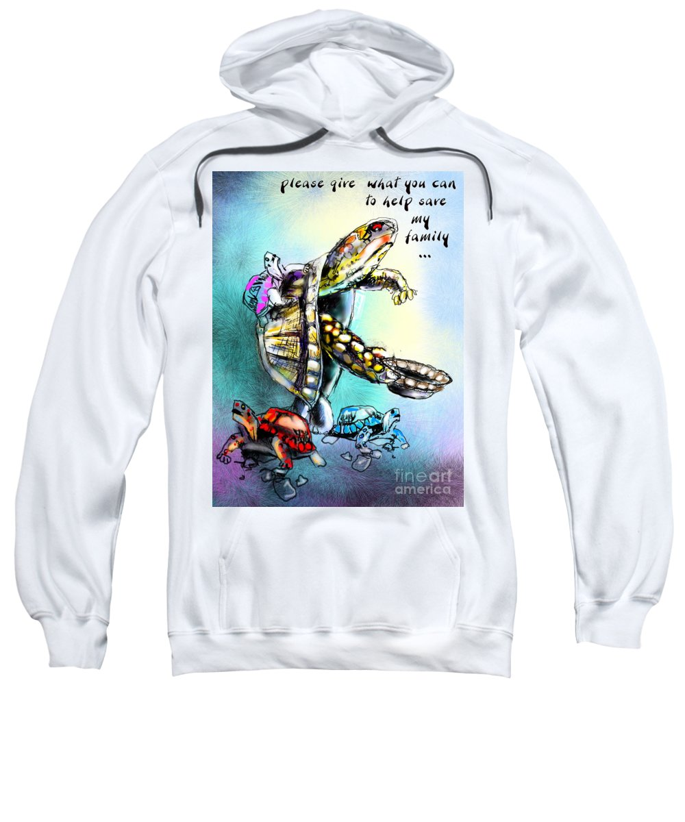 Turtle Painting Sweatshirt featuring the digital art Save My Family by Miki De Goodaboom