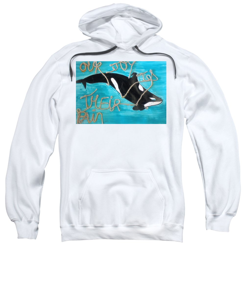 Cause Sweatshirt featuring the mixed media Save The Whales by Marlyn Carolina Martinez Sierra