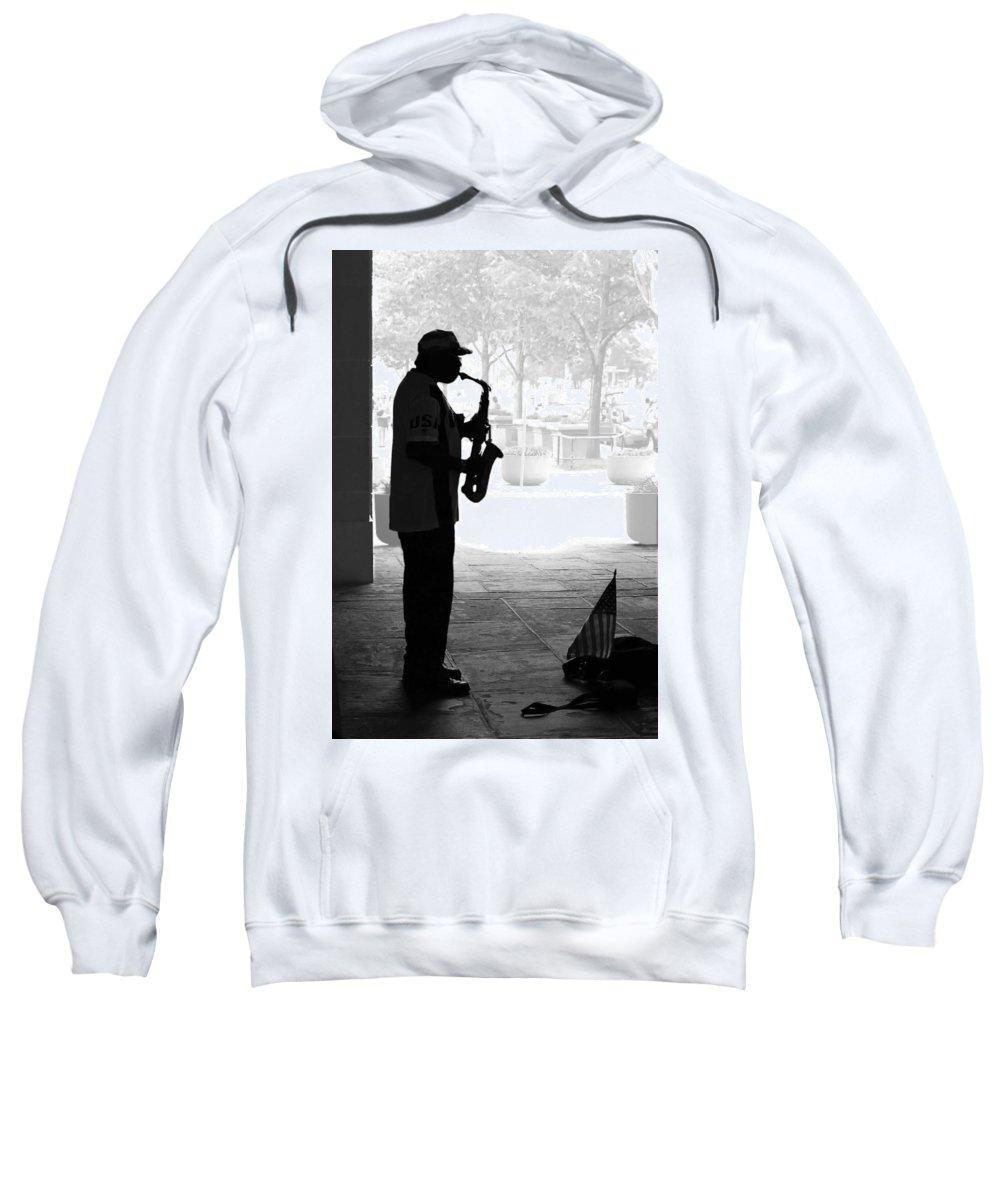 Man Sweatshirt featuring the photograph Sax Man by Francesa Miller