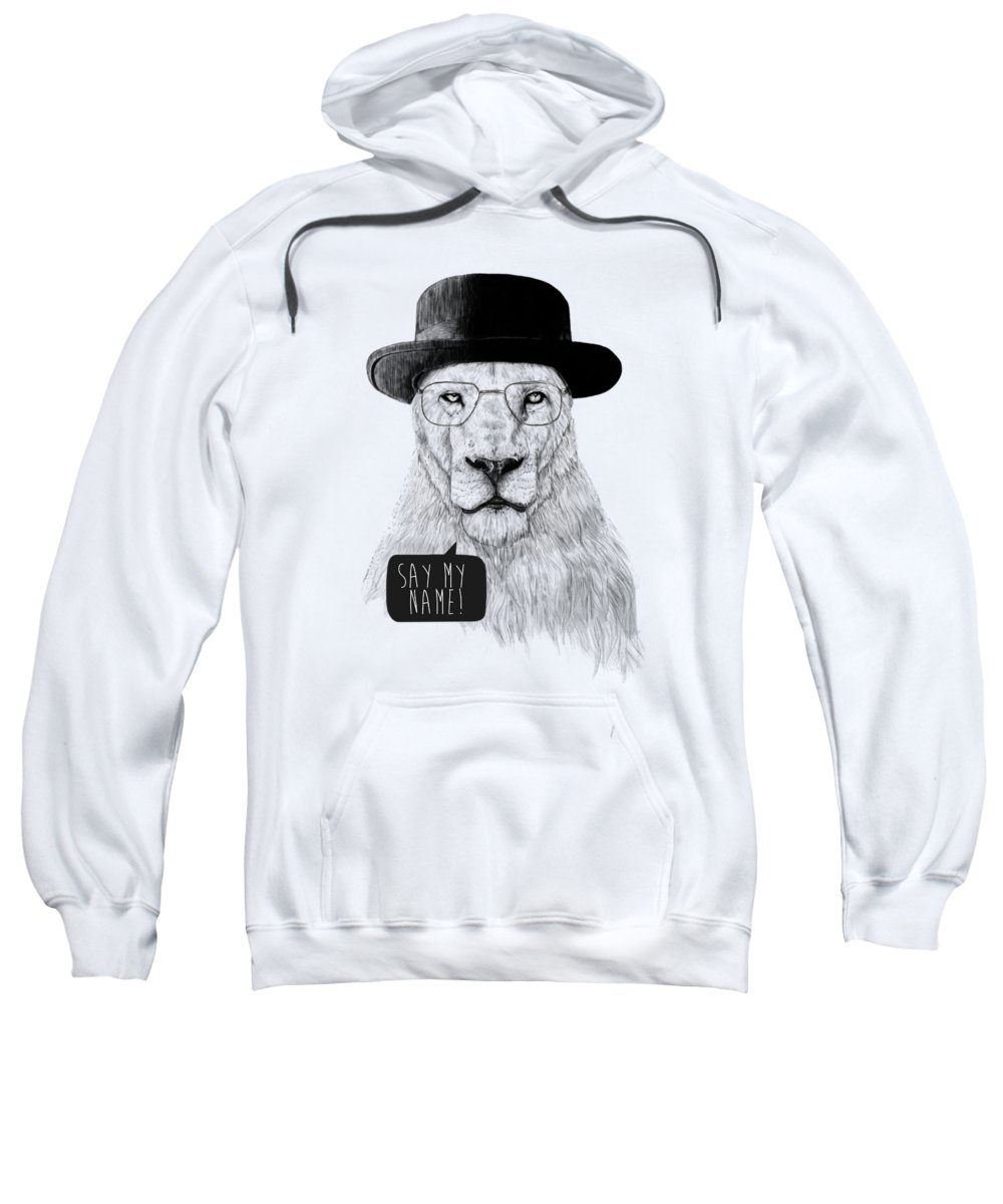 Lion Sweatshirt featuring the mixed media Say my name by Balazs Solti