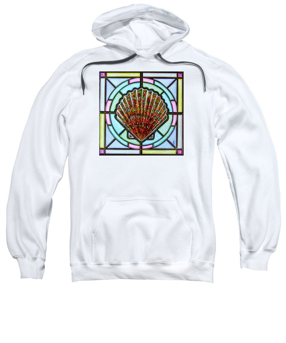 She Shells Sweatshirt featuring the painting Scallop Shell 1 by Jim Harris