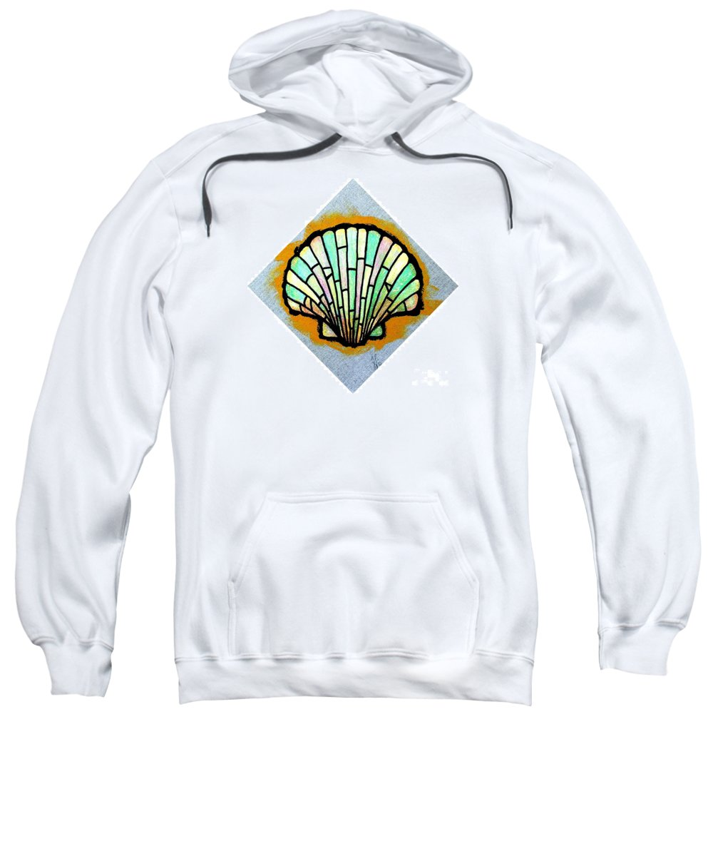 Shell Sweatshirt featuring the painting Scallop Shell by Jim Harris