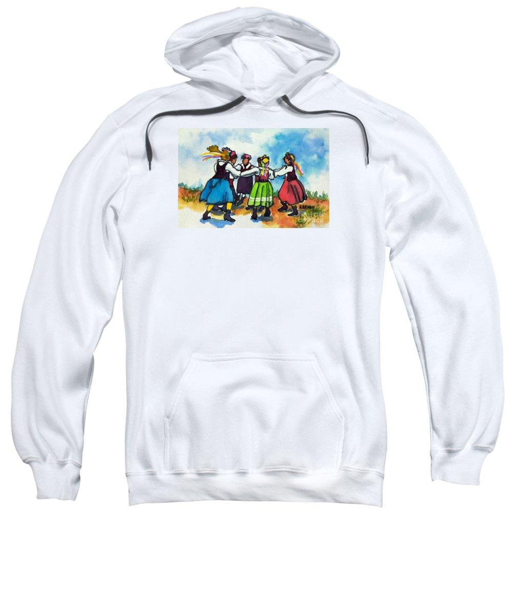 Paintings Sweatshirt featuring the painting Scandinavian Dancers by Kathy Braud